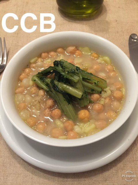 Zuppa di ceci con cicoria ripassata