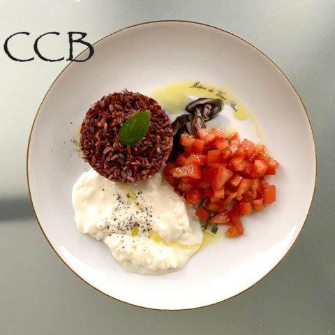 Riso rosso con verdure e squaccherone fresco